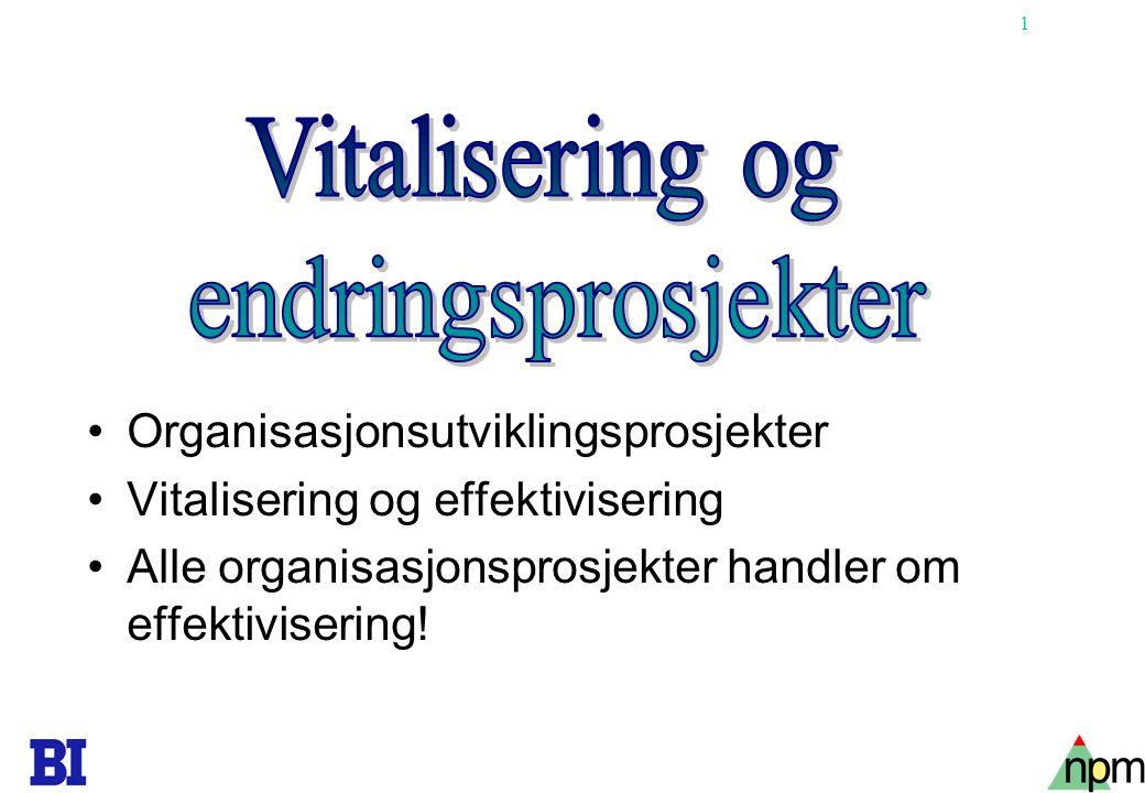 Vitalisering og endringsprosjekter Organisasjonsutviklingsprosjekter