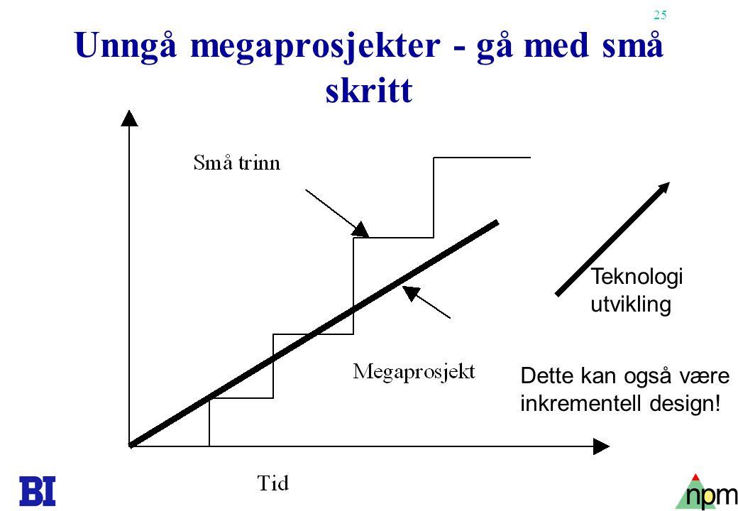 Unngå megaprosjekter - gå med små skritt