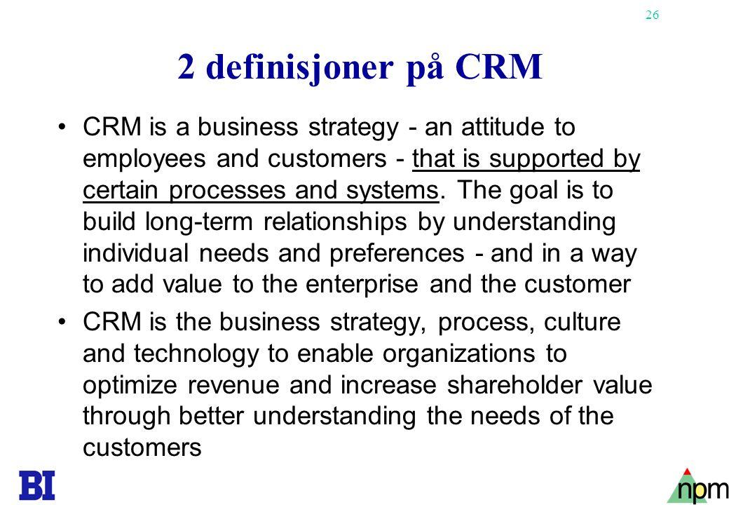2 definisjoner på CRM