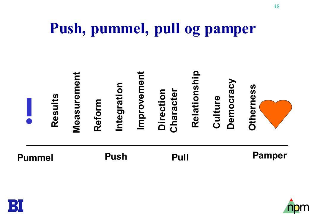 Push, pummel, pull og pamper