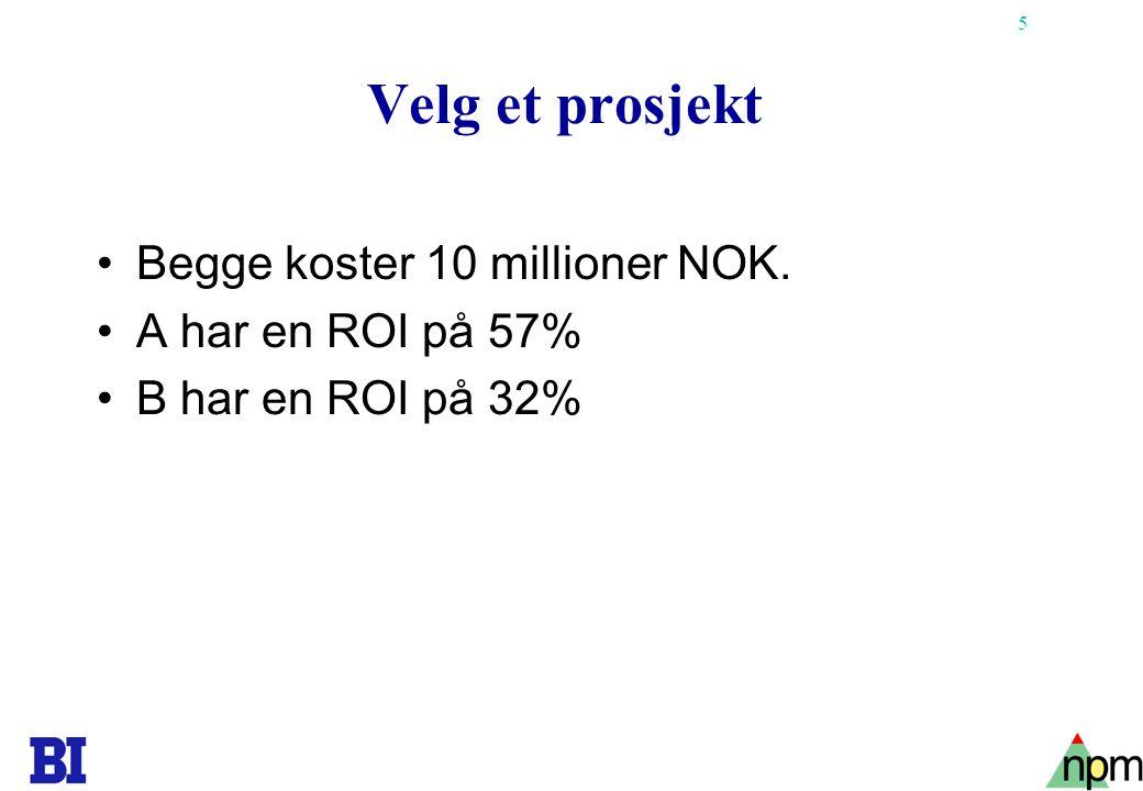 Velg et prosjekt Begge koster 10 millioner NOK. A har en ROI på 57%