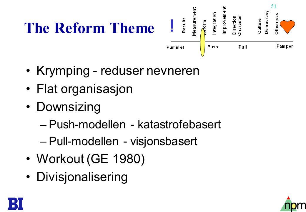 The Reform Theme Krymping - reduser nevneren Flat organisasjon