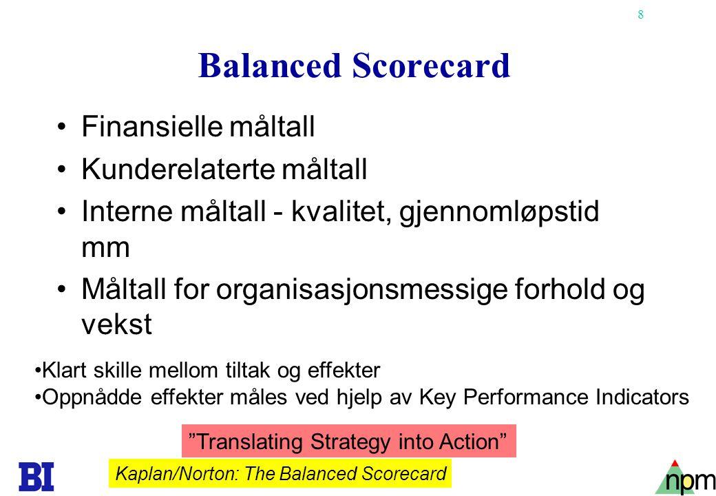 Balanced Scorecard Finansielle måltall Kunderelaterte måltall