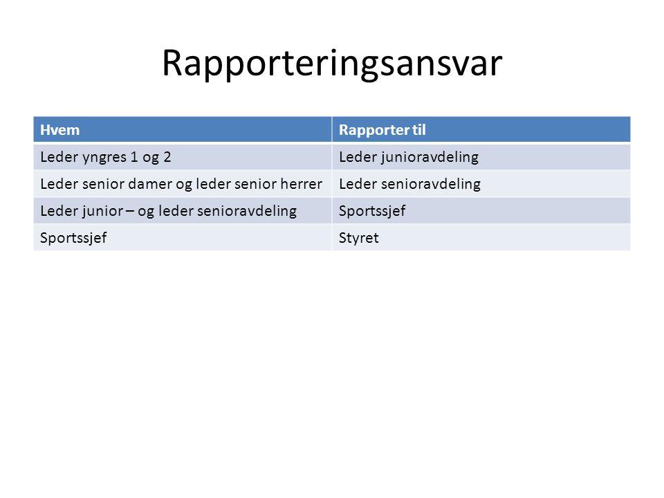Rapporteringsansvar Hvem Rapporter til Leder yngres 1 og 2