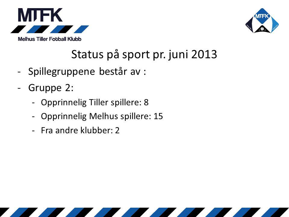 Status på sport pr. juni 2013 Spillegruppene består av : Gruppe 2: