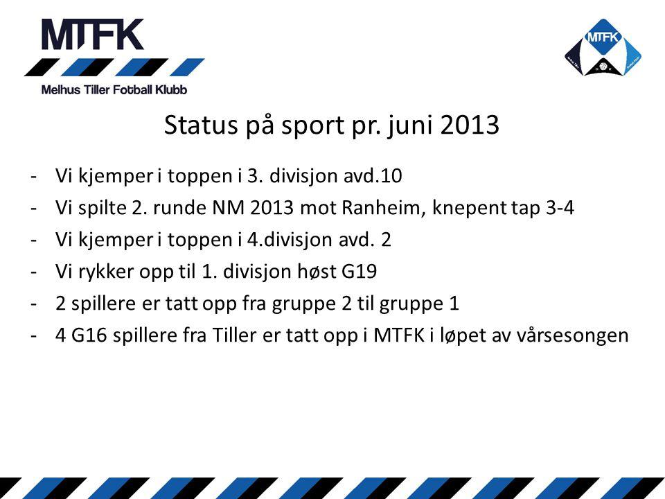 Status på sport pr. juni 2013 Vi kjemper i toppen i 3. divisjon avd.10