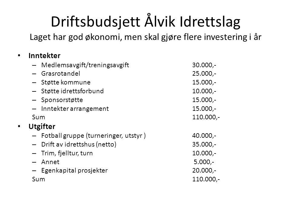 Driftsbudsjett Ålvik Idrettslag Laget har god økonomi, men skal gjøre flere investering i år