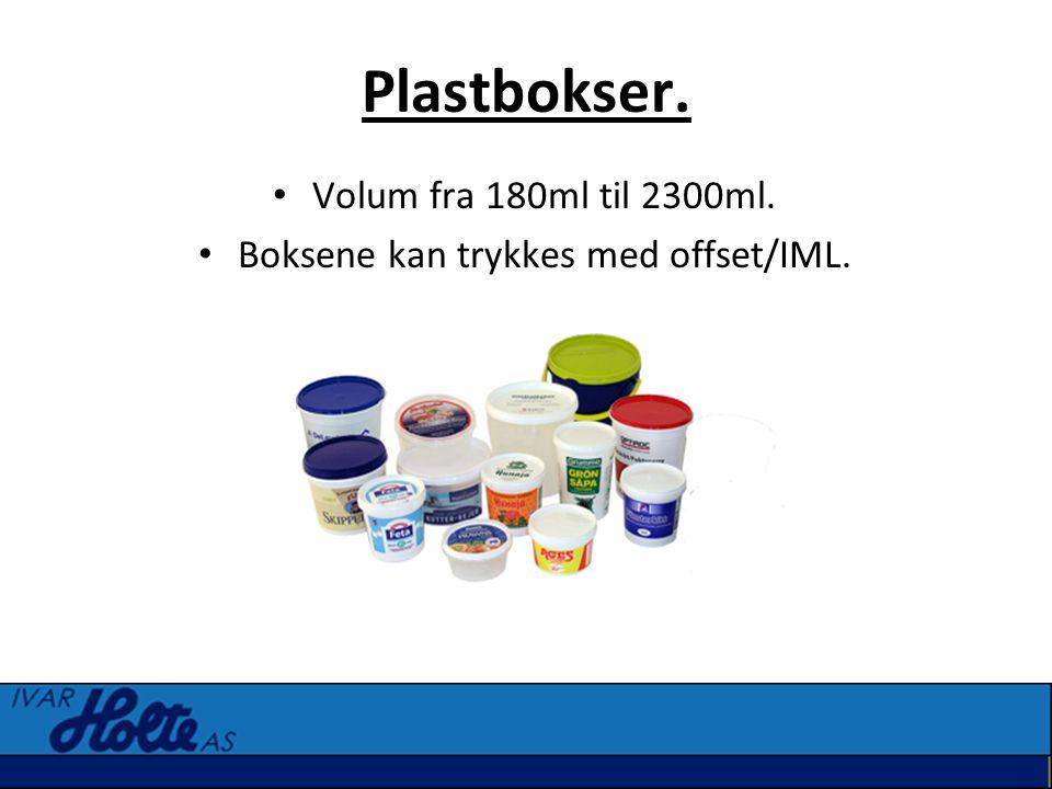 Boksene kan trykkes med offset/IML.