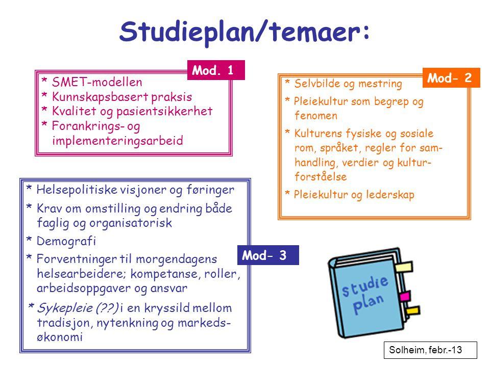 Studieplan/temaer: Mod. 1 Mod- 2 * SMET-modellen
