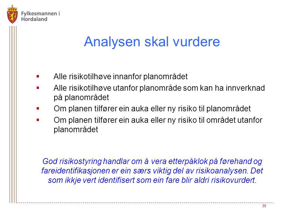 Analysen skal vurdere Alle risikotilhøve innanfor planområdet