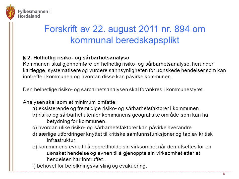 Forskrift av 22. august 2011 nr. 894 om kommunal beredskapsplikt