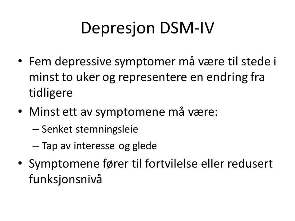 Depresjon DSM-IV Fem depressive symptomer må være til stede i minst to uker og representere en endring fra tidligere.