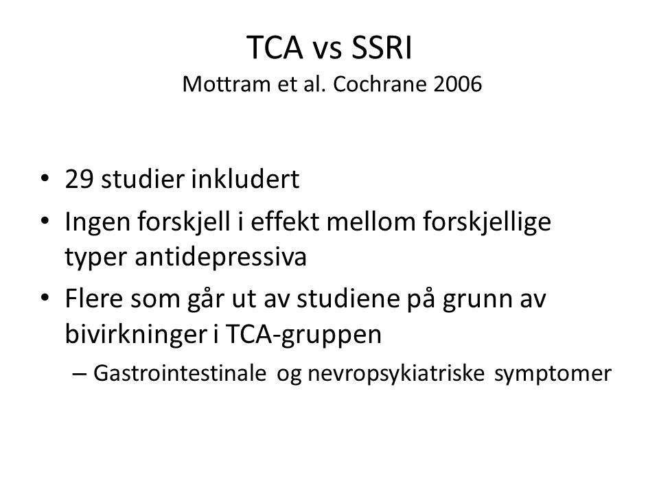 TCA vs SSRI Mottram et al. Cochrane 2006