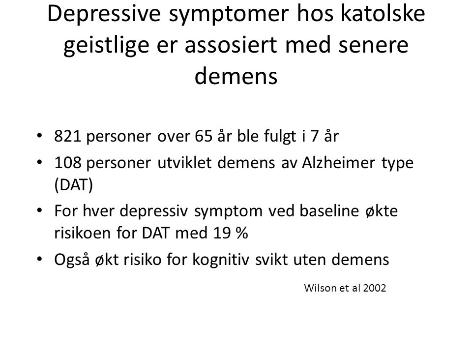 Depressive symptomer hos katolske geistlige er assosiert med senere demens