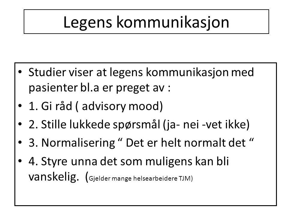 Legens kommunikasjon Studier viser at legens kommunikasjon med pasienter bl.a er preget av : 1. Gi råd ( advisory mood)