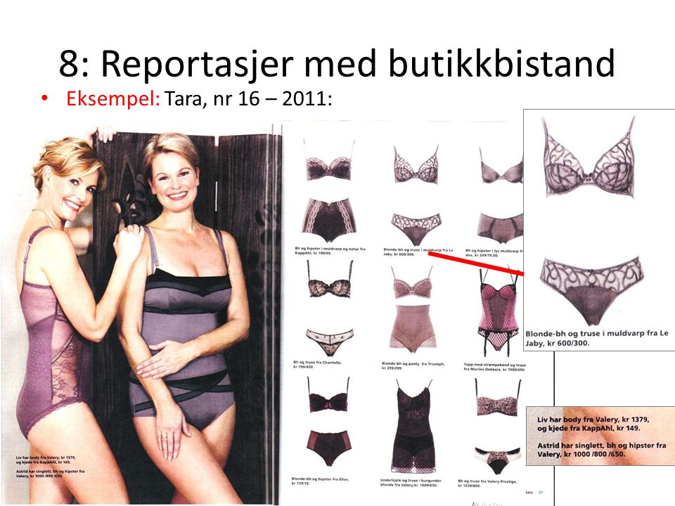 8: Reportasjer med butikkbistand