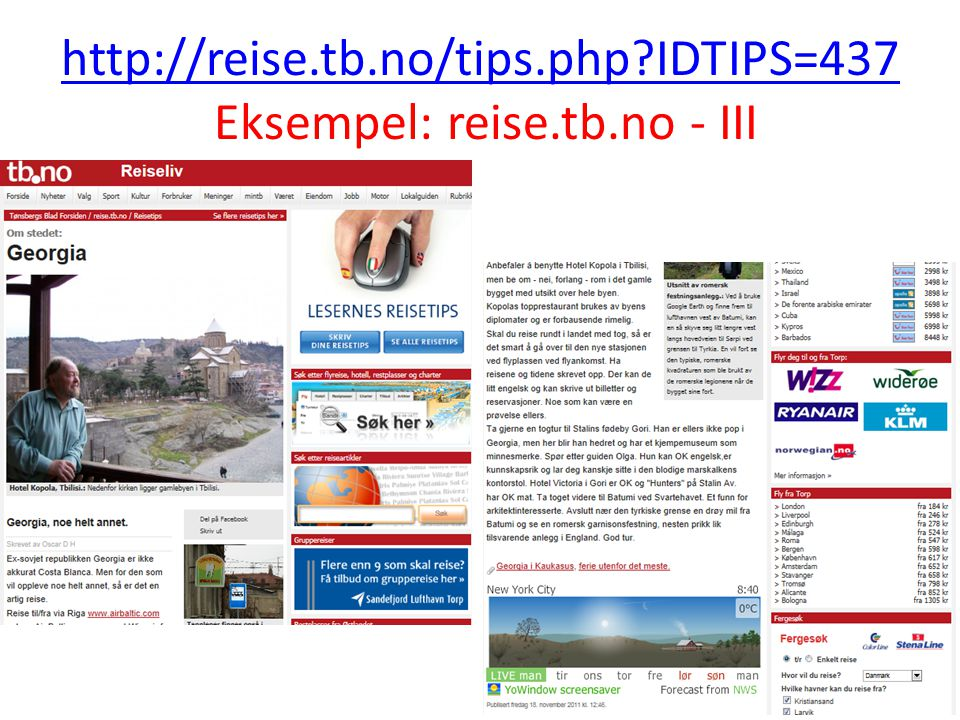 http://reise.tb.no/tips.php IDTIPS=437 Eksempel: reise.tb.no - III