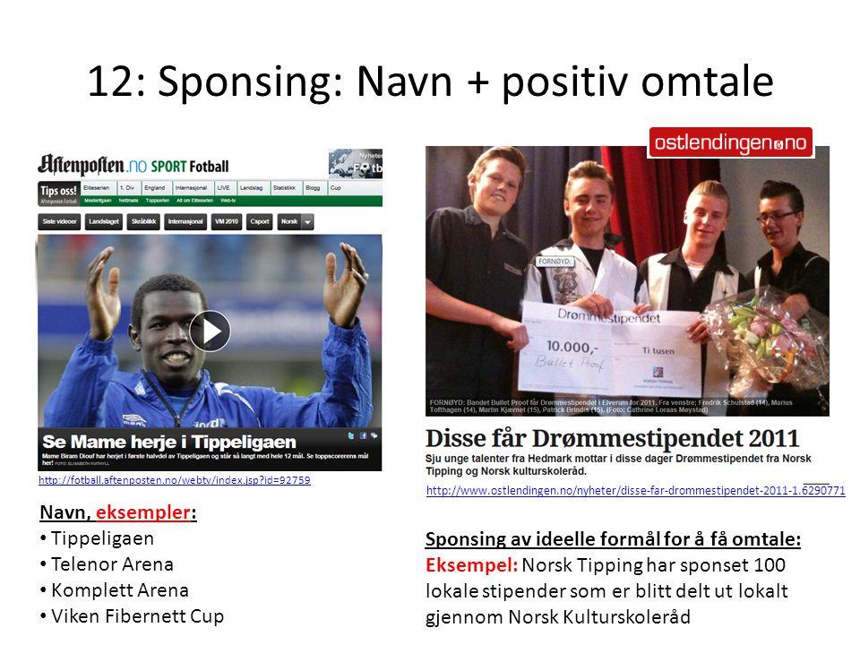 12: Sponsing: Navn + positiv omtale