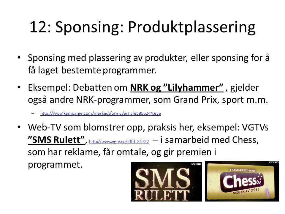 12: Sponsing: Produktplassering
