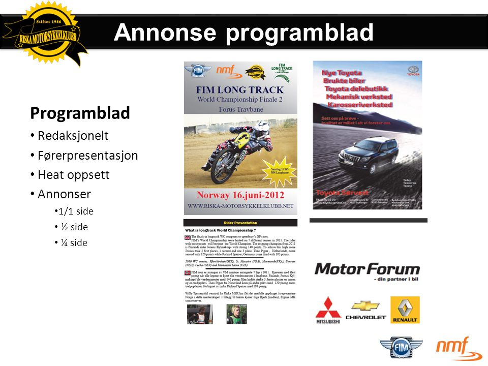 Annonse programblad Programblad Redaksjonelt Førerpresentasjon