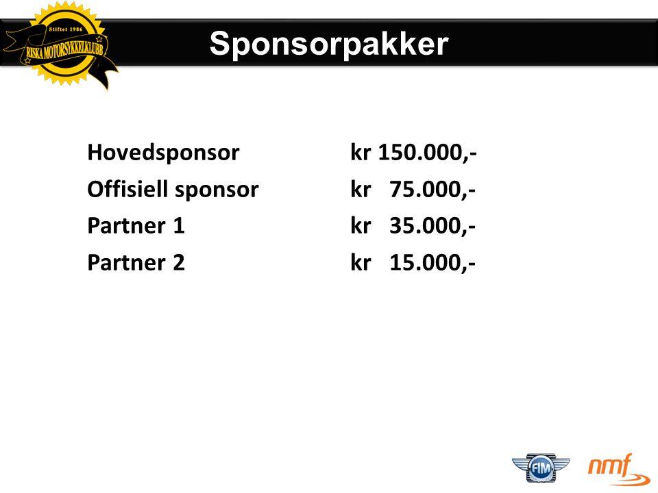 Sponsorpakker Hovedsponsor kr 150.000,- Offisiell sponsor kr 75.000,-