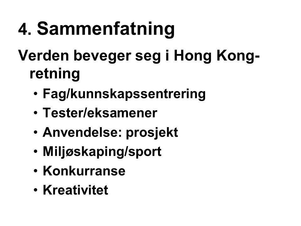 4. Sammenfatning Verden beveger seg i Hong Kong-retning
