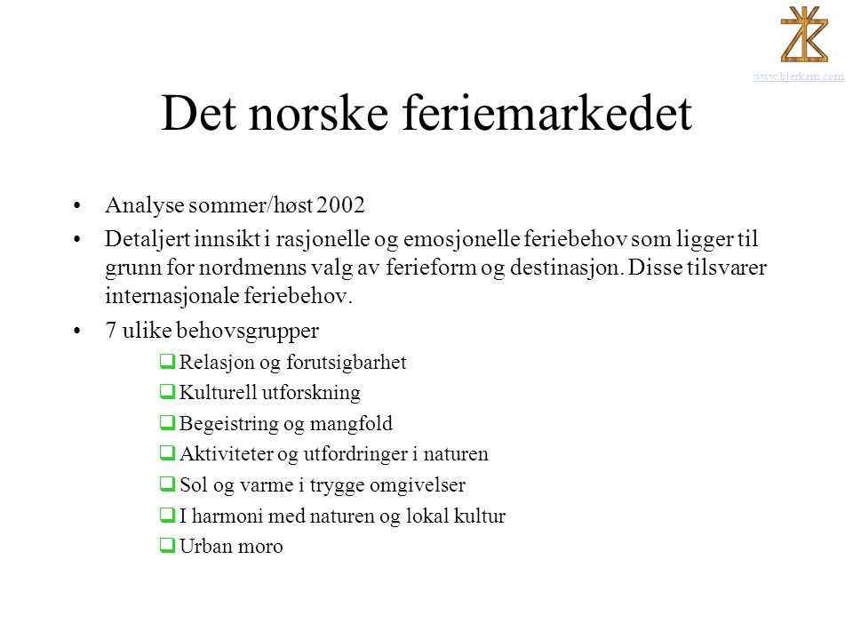 Det norske feriemarkedet
