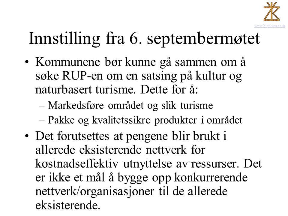 Innstilling fra 6. septembermøtet