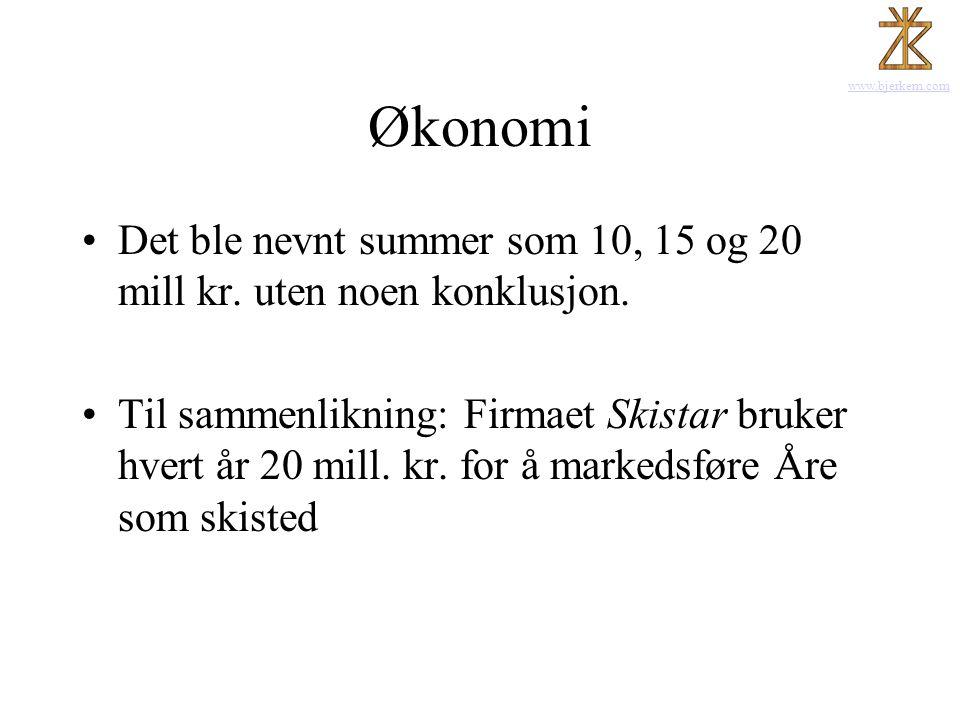 Økonomi Det ble nevnt summer som 10, 15 og 20 mill kr. uten noen konklusjon.