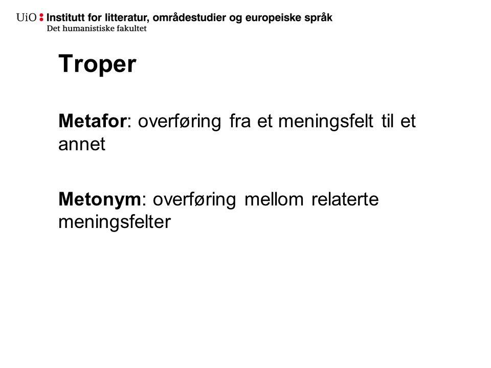 Troper Metafor: overføring fra et meningsfelt til et annet