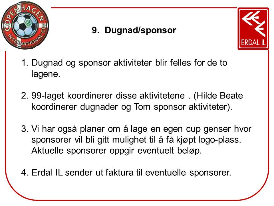 Dugnad/sponsor Dugnad og sponsor aktiviteter blir felles for de to lagene.