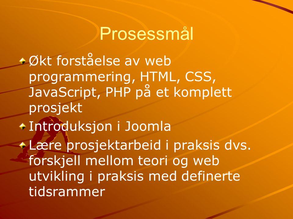 Prosessmål Økt forståelse av web programmering, HTML, CSS, JavaScript, PHP på et komplett prosjekt.