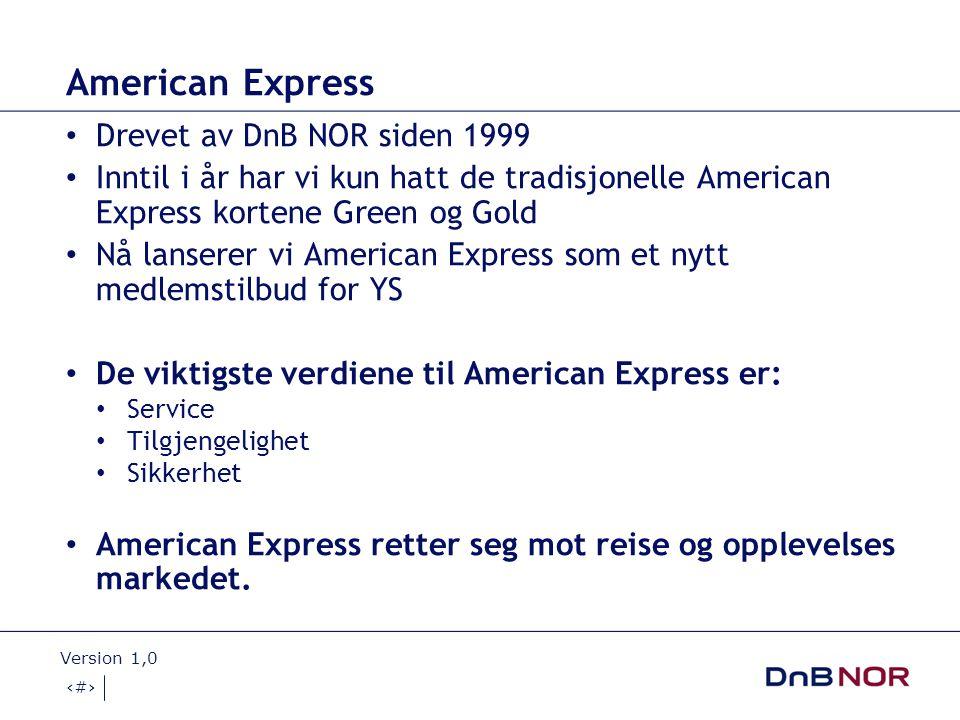 American Express Drevet av DnB NOR siden 1999