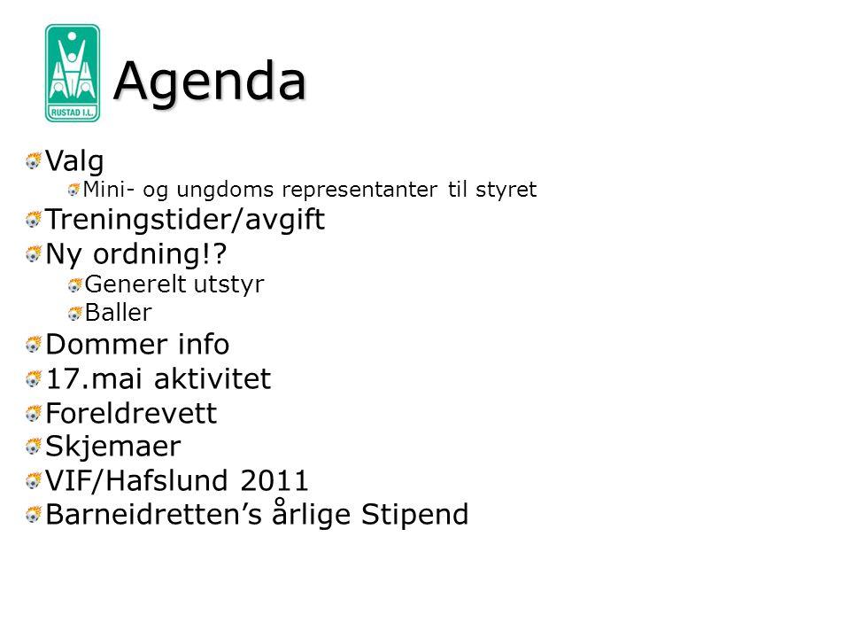 Agenda Valg Treningstider/avgift Ny ordning! Dommer info