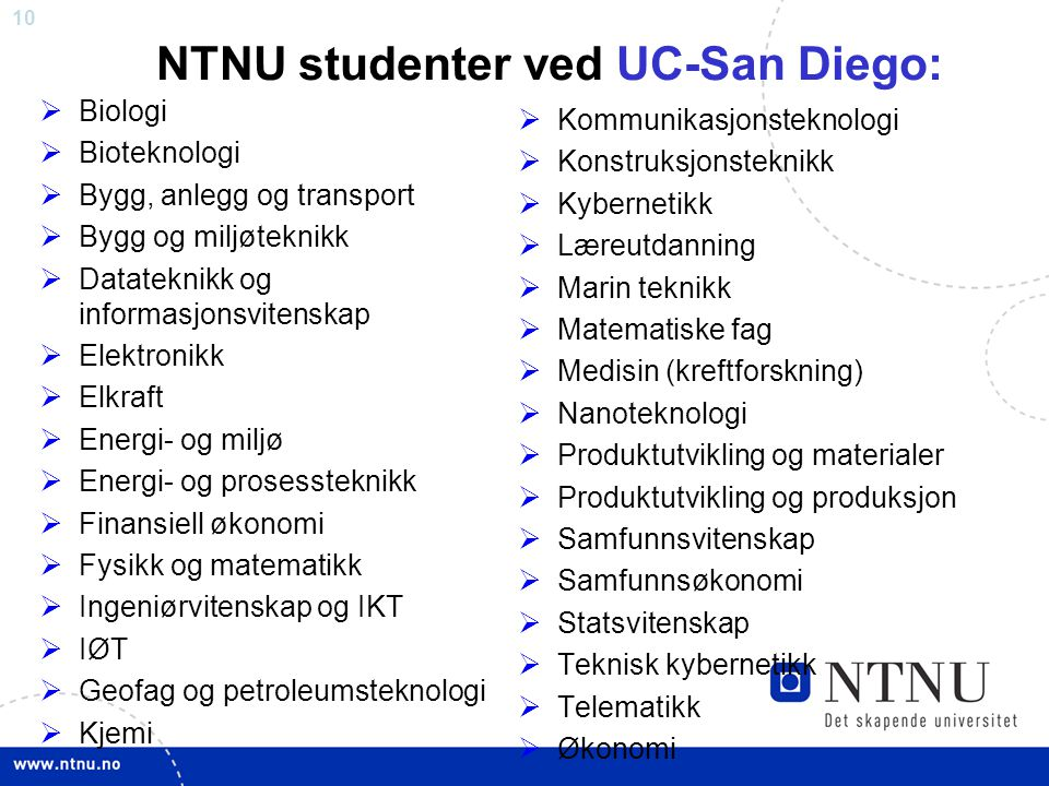 NTNU studenter ved UC-San Diego: