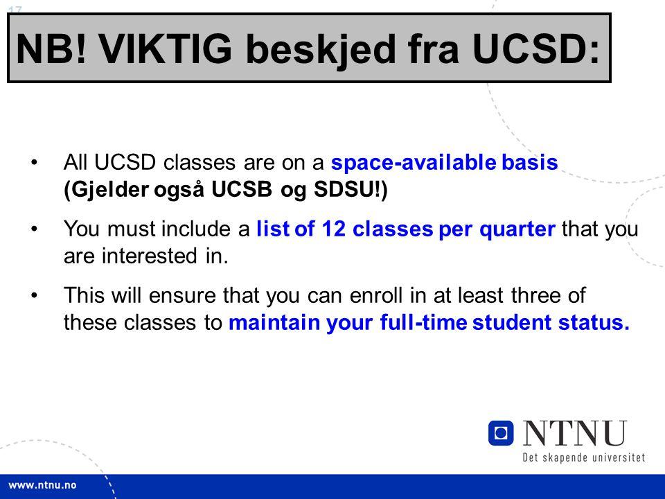 NB! VIKTIG beskjed fra UCSD: