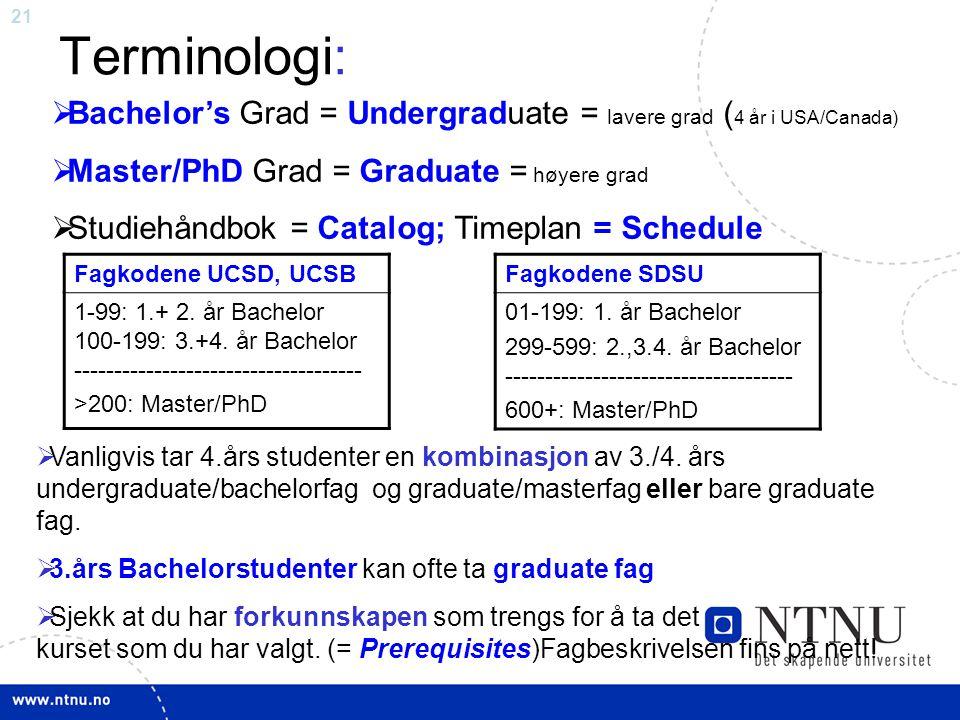 Terminologi: Bachelor's Grad = Undergraduate = lavere grad (4 år i USA/Canada) Master/PhD Grad = Graduate = høyere grad.