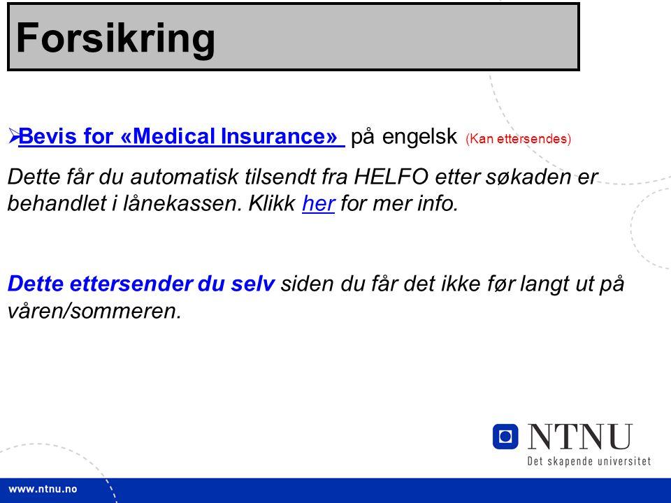 Forsikring Bevis for «Medical Insurance» på engelsk (Kan ettersendes)
