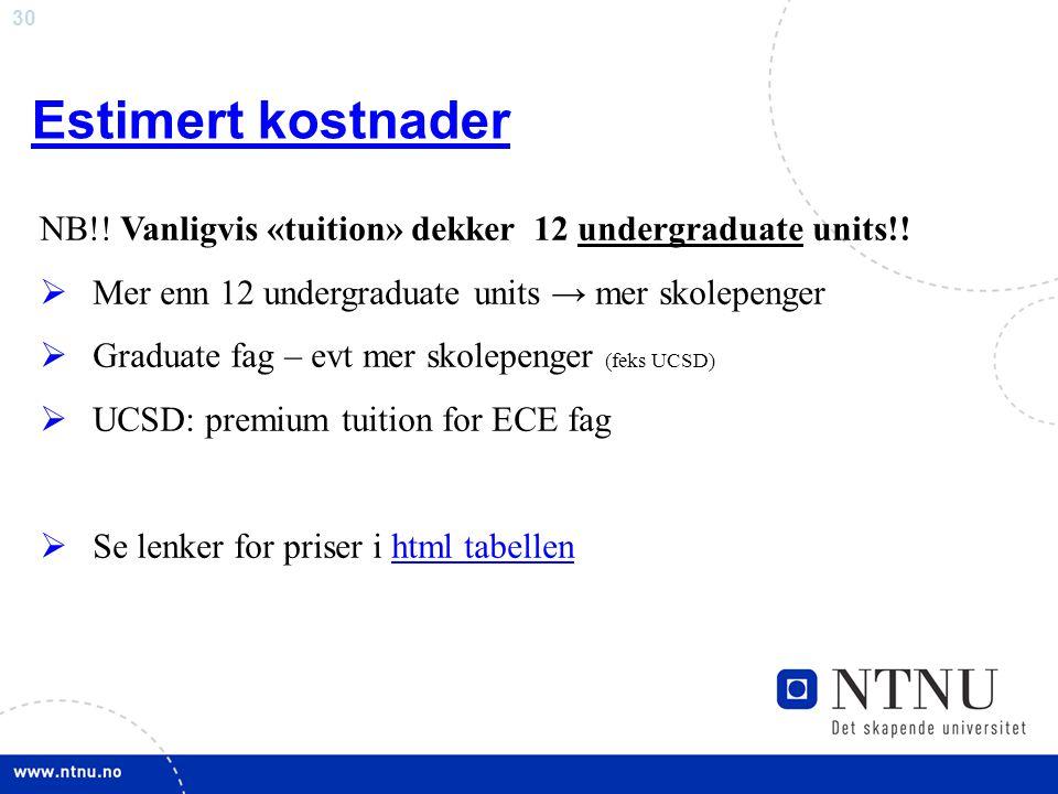 Estimert kostnader NB!! Vanligvis «tuition» dekker 12 undergraduate units!! Mer enn 12 undergraduate units → mer skolepenger.