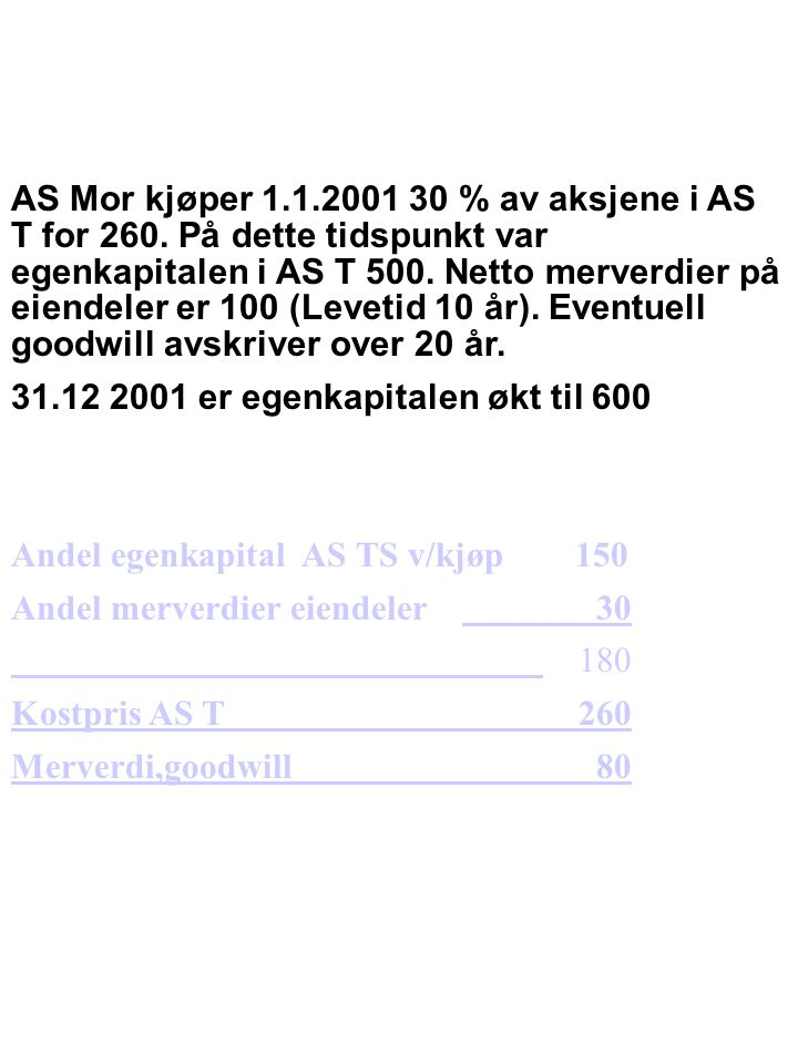 AS Mor kjøper 1. 1. 2001 30 % av aksjene i AS T for 260