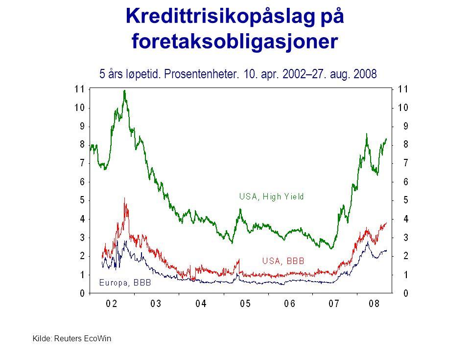 Kredittrisikopåslag på foretaksobligasjoner 5 års løpetid
