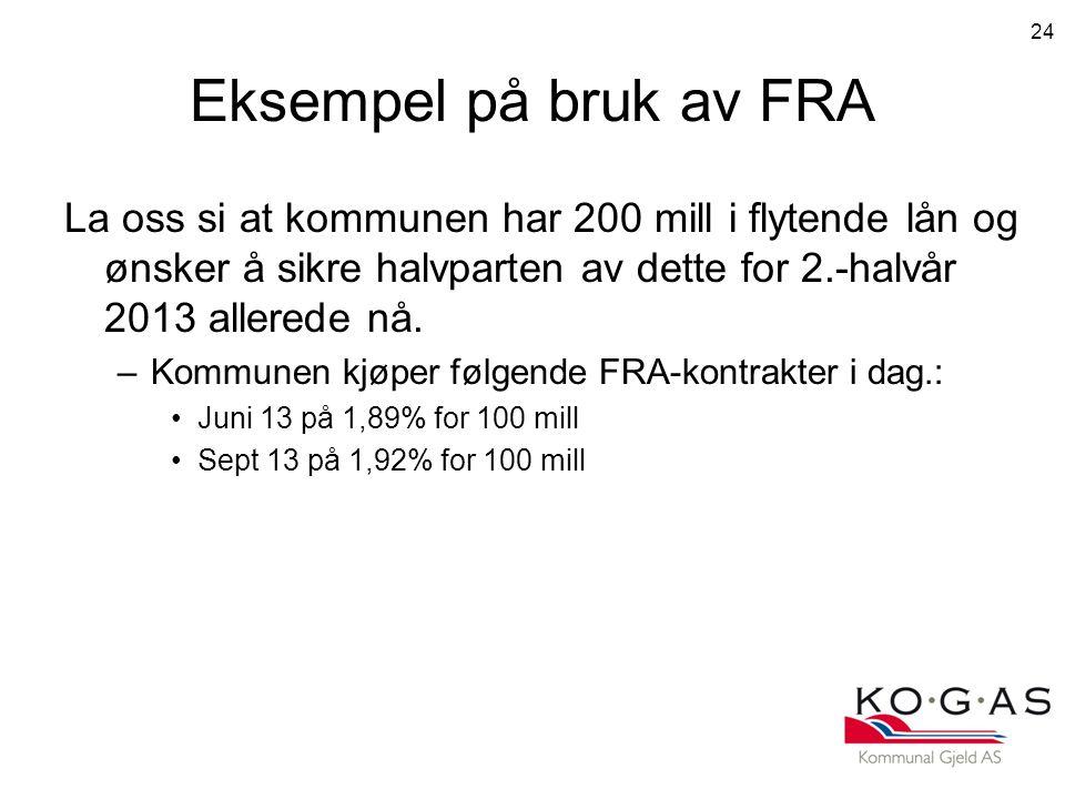 Eksempel på bruk av FRA La oss si at kommunen har 200 mill i flytende lån og ønsker å sikre halvparten av dette for 2.-halvår 2013 allerede nå.