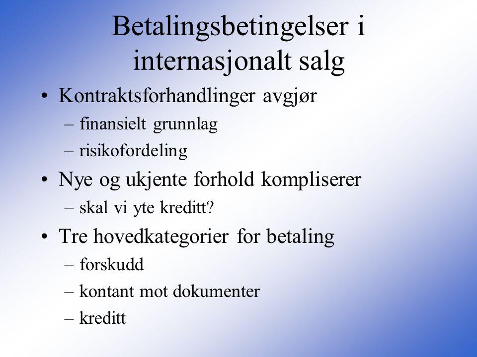 Betalingsbetingelser i internasjonalt salg