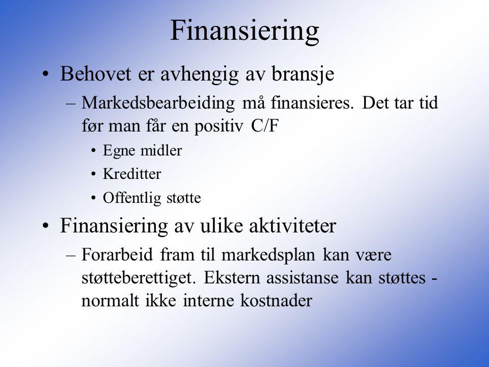 Finansiering Behovet er avhengig av bransje