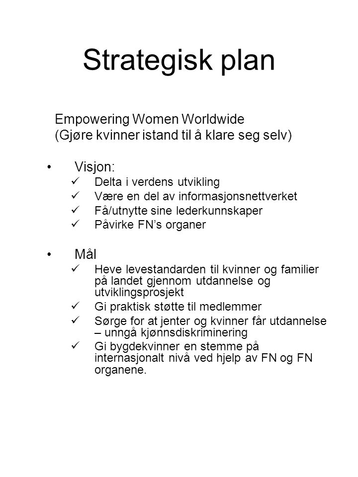 Strategisk plan Empowering Women Worldwide
