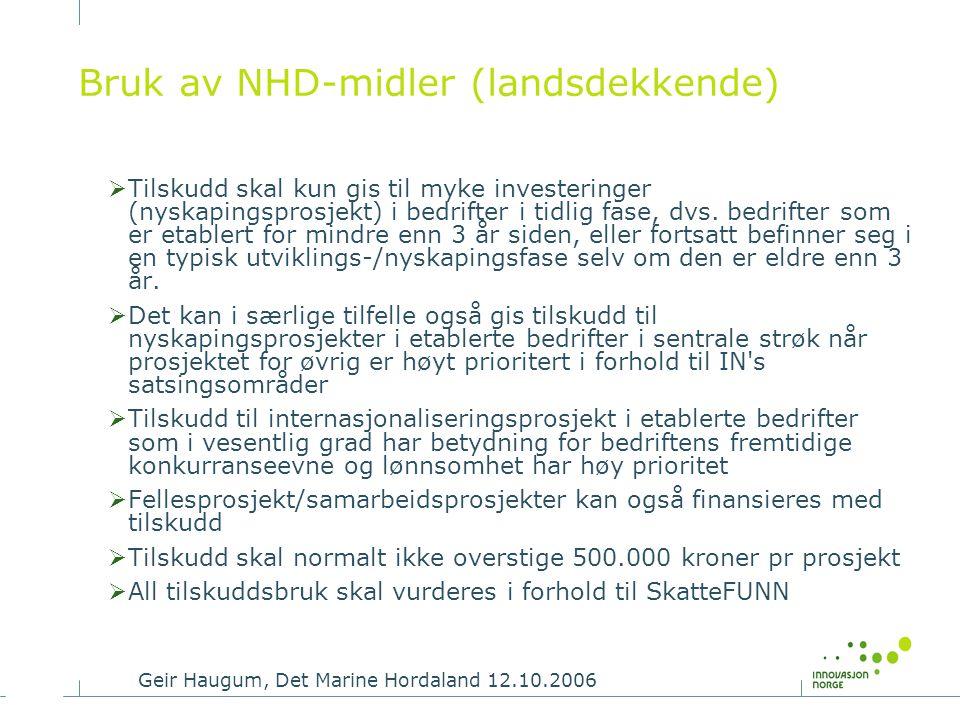 Bruk av NHD-midler (landsdekkende)