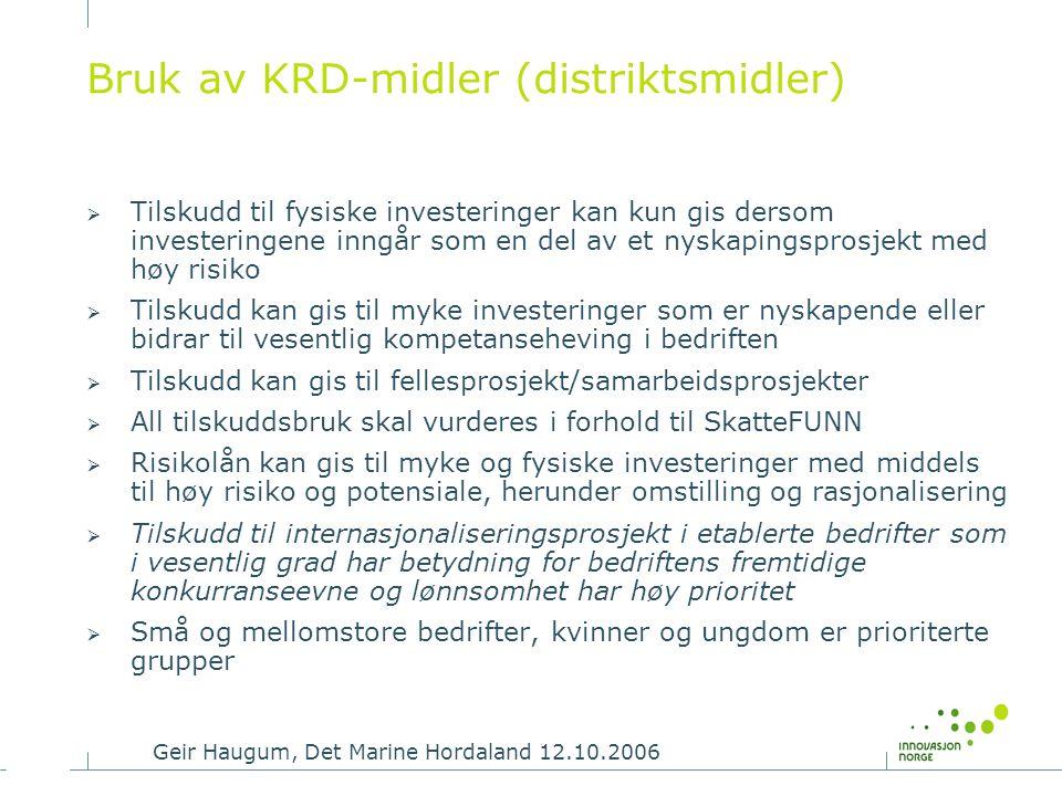 Bruk av KRD-midler (distriktsmidler)