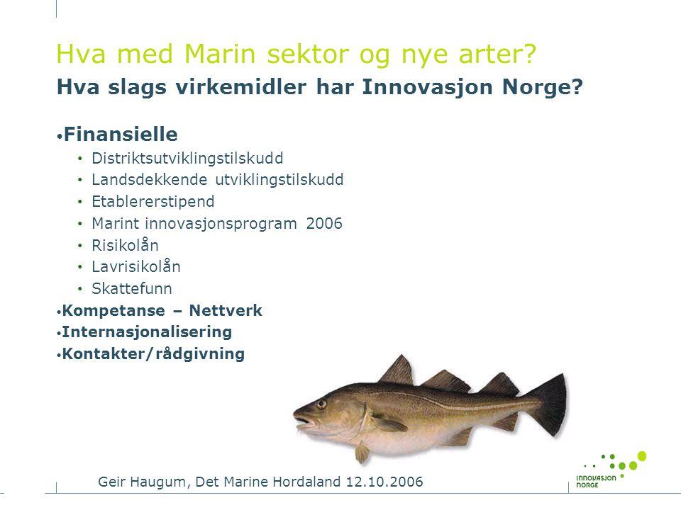 Hva med Marin sektor og nye arter