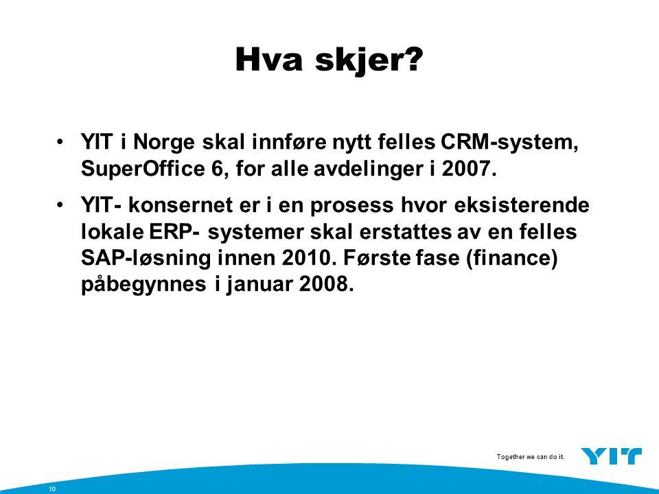 Hva skjer YIT i Norge skal innføre nytt felles CRM-system, SuperOffice 6, for alle avdelinger i 2007.
