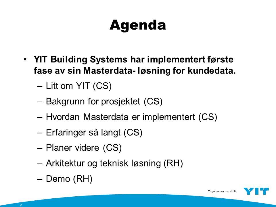 Agenda YIT Building Systems har implementert første fase av sin Masterdata- løsning for kundedata. Litt om YIT (CS)